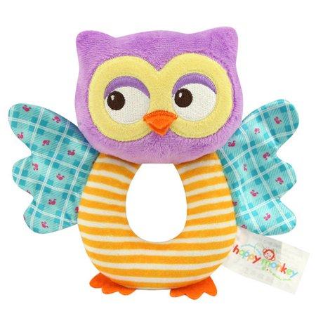 Fashion Newborn Infant Rattles Toy Handbell Cute Cartoon Animal Owl/Chicks Boy Girl Hand Bell Toddler Baby Plush Toys Gifts (Ball Cartoon Animal)