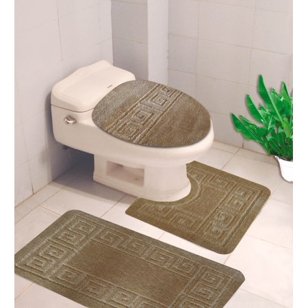 Elongated Toilet Lid Covers (#10  Taupe 3-Piece Embossed Bathroom Mat Set, Solid Large Rug 19
