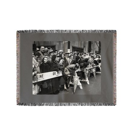 View of Crowd During Saint Patrick's Day Parade NYC Photo (60x80 Woven Chenille Yarn Blanket) - Nyc Halloween Parade Map