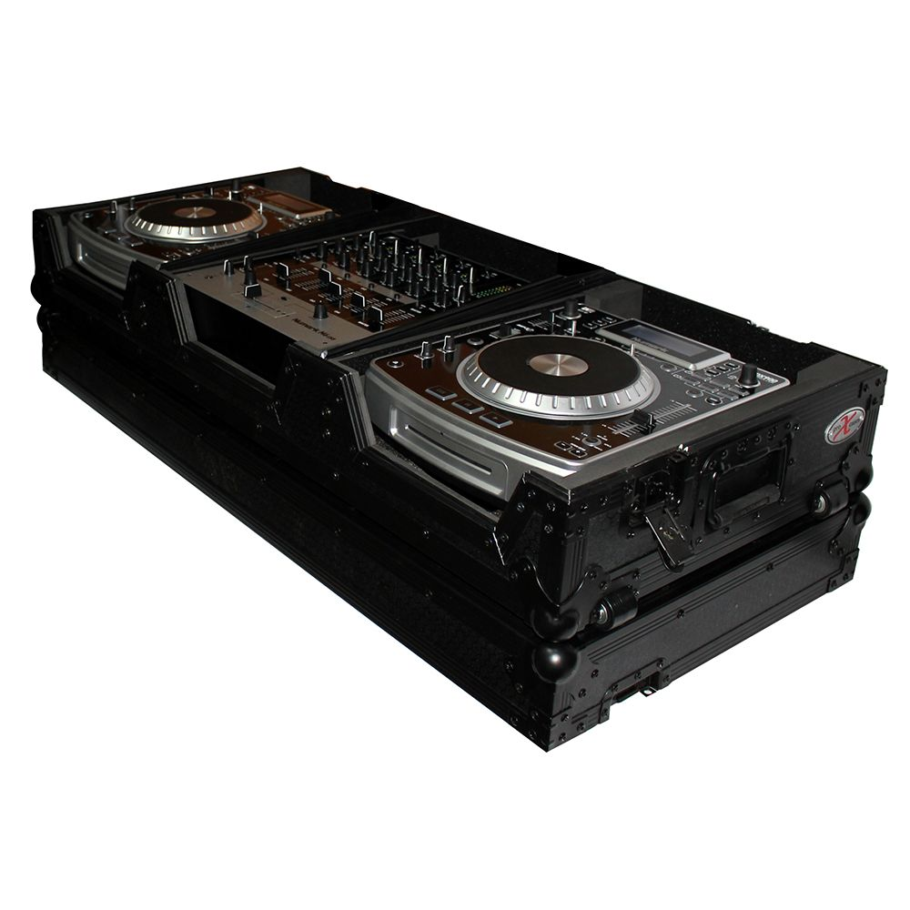 Dj Coffin Case For 4 Ch Mixer And 2X Cd, W Wheels, Black On Black by