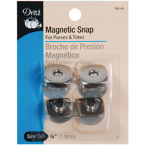"Dritz Square Magnetic Snaps, .75"", Nickel, 2-Pair"