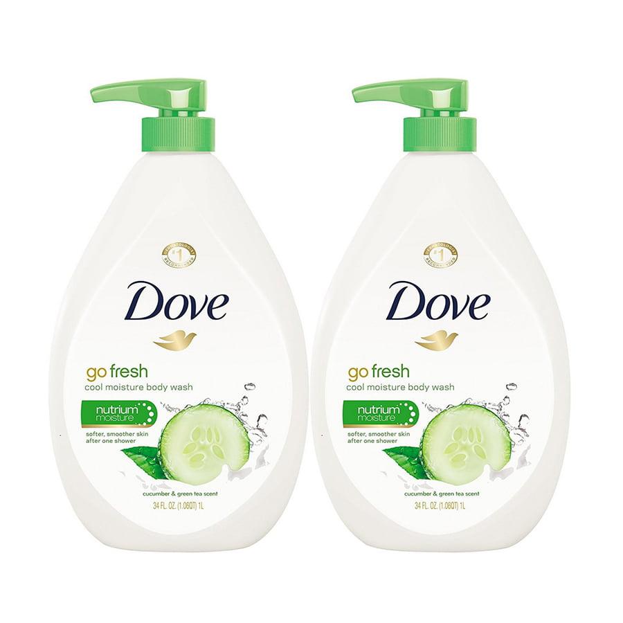 (2 Pack) Dove go fresh Cucumber and Green Tea Body Wash Pump, 34 oz