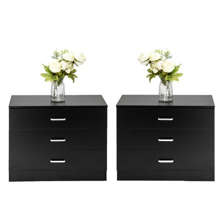 Ktaxon Set of 2 pcs Nightstands Dresser Bedside End Table Storage Cabinets with 3 Drawers