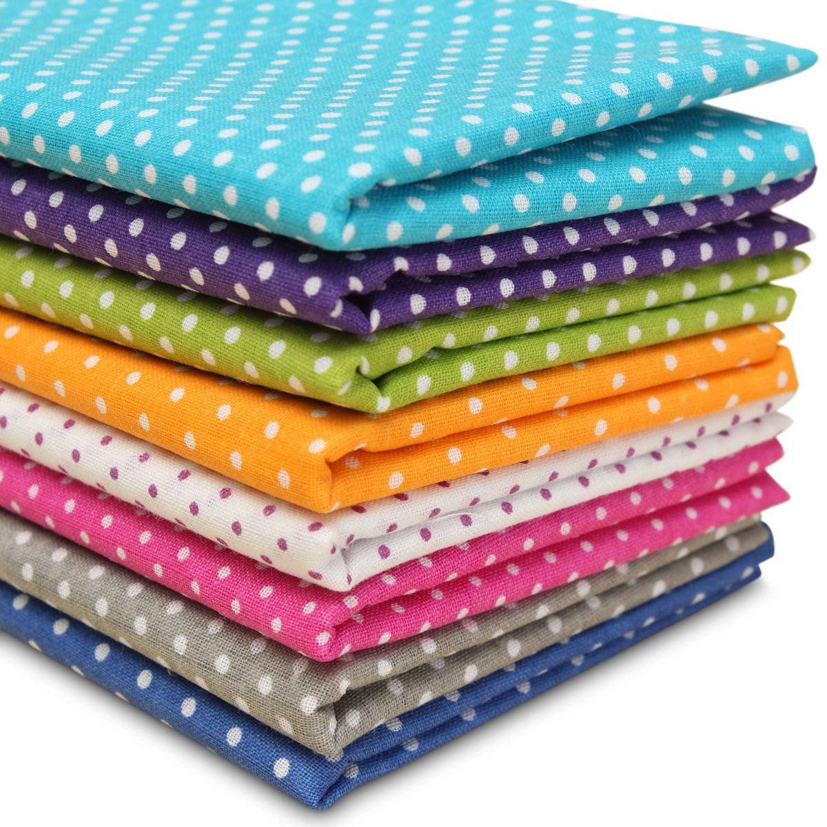 Misscrafts 7pcs 50 x 50cm Cotton Blending Textile Craft Fabric Bundle Fat Quarter Patchwork Pre-Cut Quilt Squares for DIY Sewing Scrapbooking Dot Floral Pattern Quilting Fabric Navy Blue