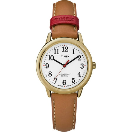 Women's Easy Reader 40th Anniversary Tan/White Watch, Leather Strap - Watch Grave Halloween Online