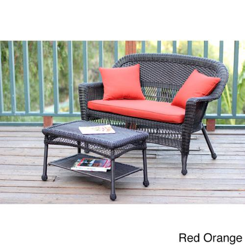 Espresso Wicker Love Seat/Coffee Table Set Red Orange