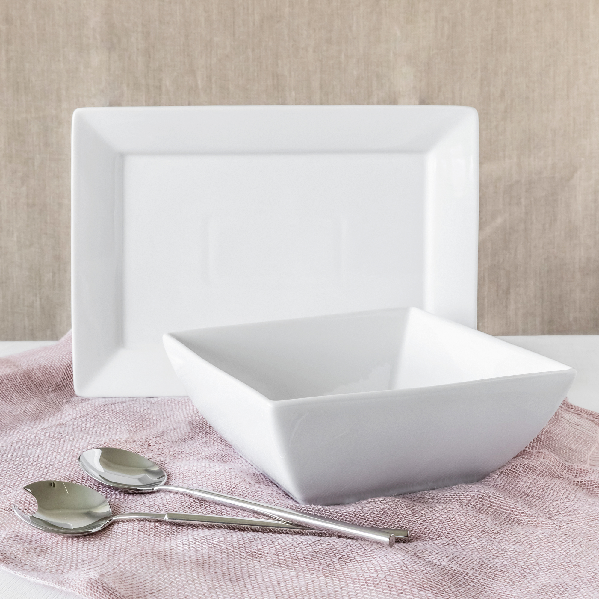 Better Homes and Gardens Square Bowl and Platter Set, White