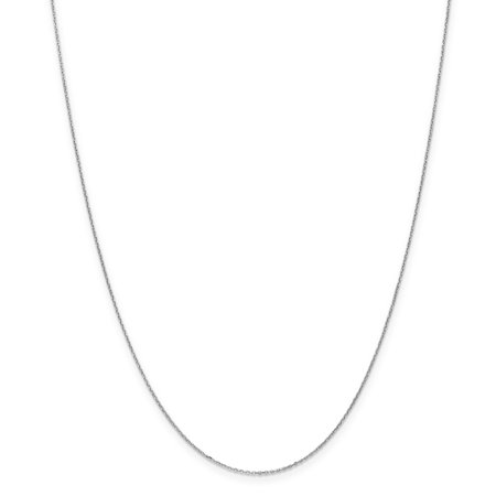 White Gold Cable Link Chain (10kt White Gold .8mm Link Cable Chain Necklace 20 Inch Pendant Charm Round Fine Jewelry Ideal Gifts For Women Gift Set From Heart)