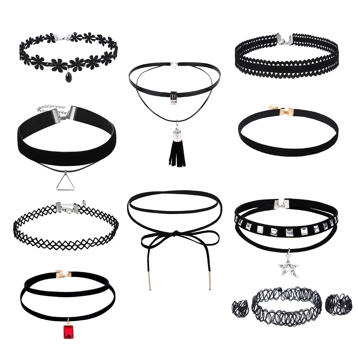 BESTOMZ Black Choker Necklace Lace Choker Tattoo Necklace for Women Girl Length Adjustable Collar Necklace, 10pcs Pack