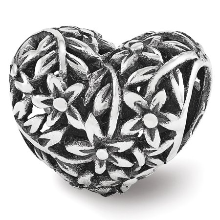 Filigree Flower Heart Bead Charm in Antiqued Sterling Silver