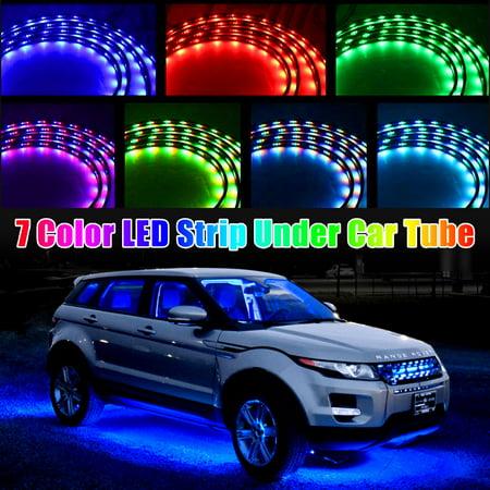 TSV 7 Color LED Strip Under Car Tube underglow Interior Lights Underbody System Neon Lights 4pcs Kit