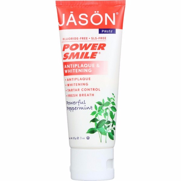 Jason Natural Products Toothpaste - Powersmile - Antiplaque And Whitening - Powerful Peppermint - Fluoride-free - 3 Oz - Pack of 12