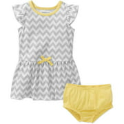 Healthtex Newborn Baby Girl Flutter Sleeve Tie Waist Knit Dress With Bloomer Set