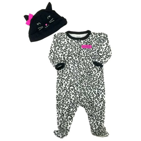 Carters Infant Girls First Halloween Outfit Black Leopard Sleeper Cat Hat