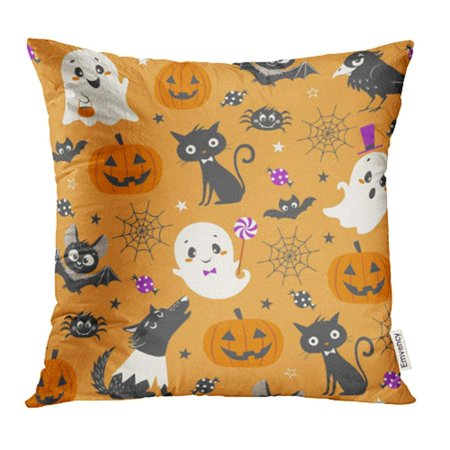 CMFUN Halloween with Cute Pumpkins Ghosts Black Cat Bats Raven Skin Walker and Sweets Pillow Case Pillow Cover 16x16 inch Throw Pillow Covers](Cute Halloween Ghost Sayings)