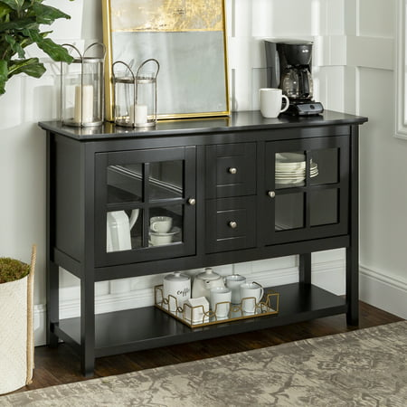 """Walker Edison 52"""" Wood Console Table Buffet TV Stand for TV's up to 55"""" - Black"""