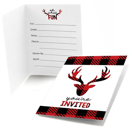 Prancing Plaid - Fill In Christmas & Holiday Buffalo Plaid Party Invitations (8 count) Blank Christmas Holiday Invitations