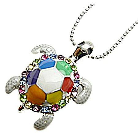 Hawaiian Honu Turtle Pendant - HAWAIIAN HONU TURTLE CRYSTALS NECKLACE-Multi Color