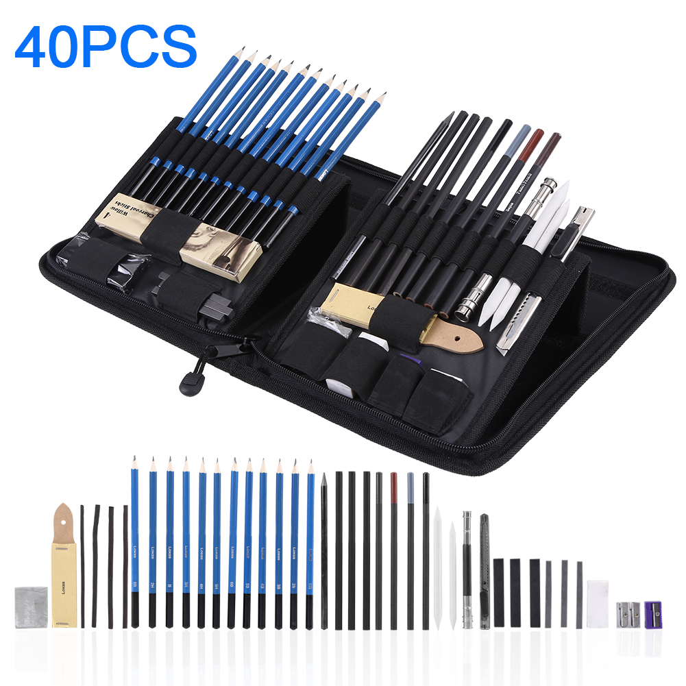40pcs professional sketching drawing pencils kit set art supplies students painting tool drawing supplies sketching pencils set