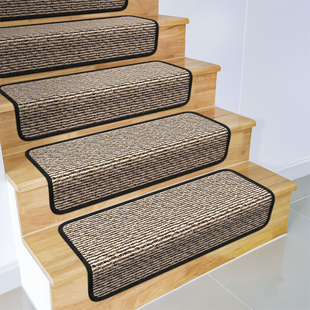 Set of 12 Overstep Attachable Carpet Stair Treads - Black Ripple - 17 In. X 30 In.