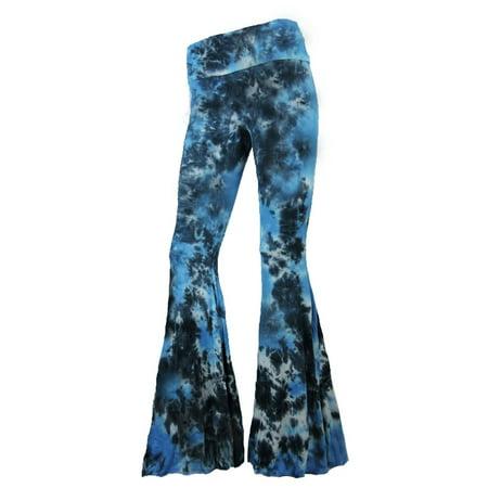 Retro Tie Bottoms (Sugar Rock Women Tie Dye Palazzo Hippie Pants Fold-Over Waist Bell Bottom Leg in Turquoise )