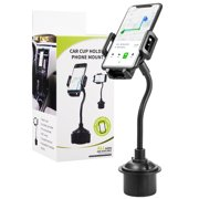 Luxmo Universal Cup Holder Car Mount With Long Adjustable Arm And Rotatable Cradle With Quick Release Button - Black