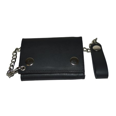 Quiksilver Black Wallet (Biker's Wallet ID Card Holder with Chain Genuine Leather - plain black)