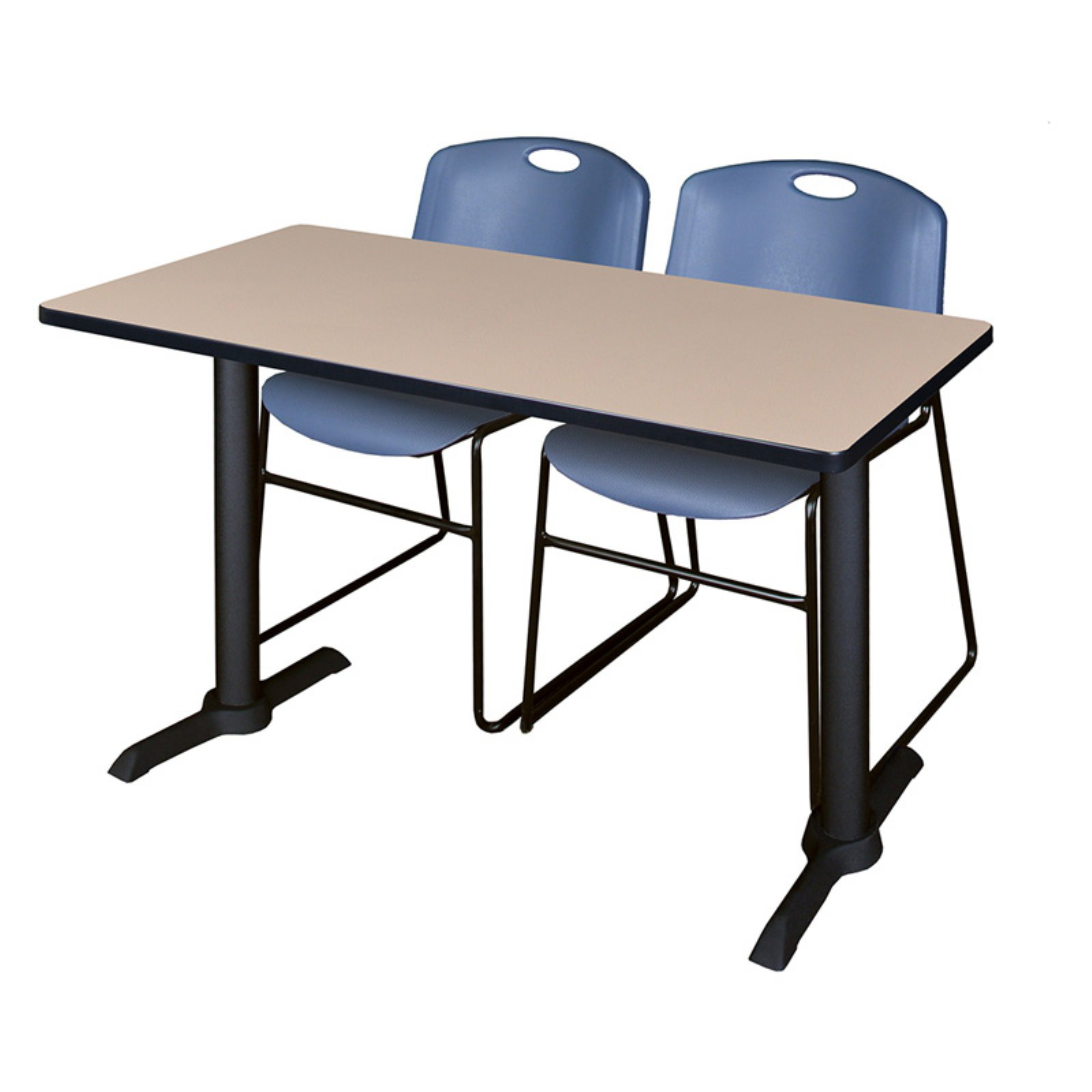 "Cain 48"" x 24"" Beige Training Table and 2 Zeng Stack Chairs, Multiple Colors"