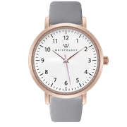 Olivia number Rose gold womens watch with 18mm grey genuine leather interchanageable watch band OC065
