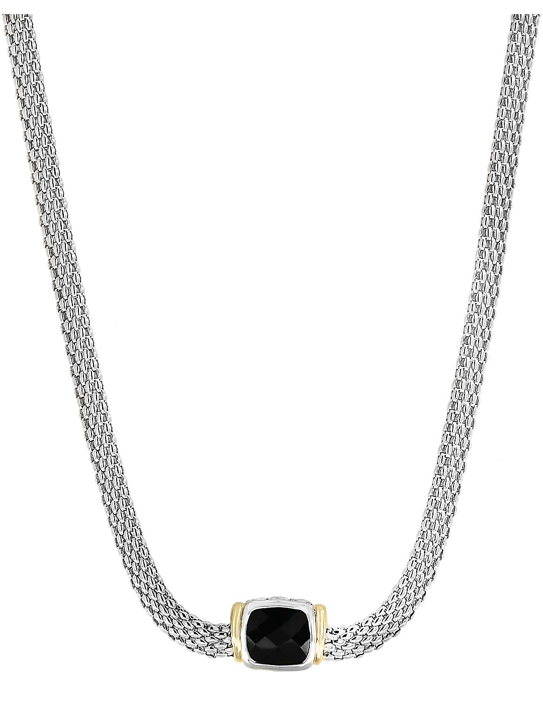 18K Yellow Gold and 925 Sterling Silver Necklace