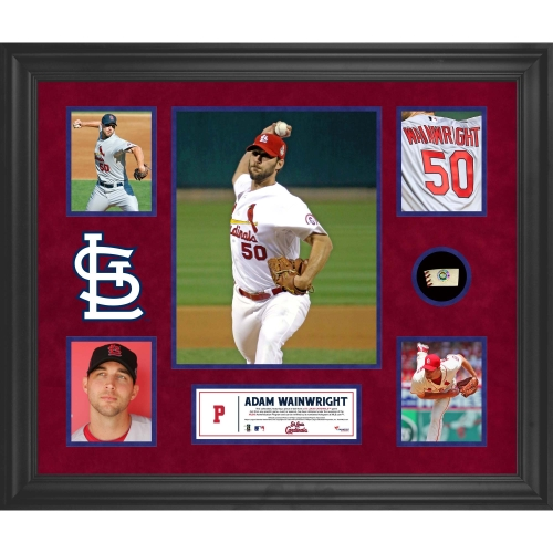 Adam Wainwright St. Louis Cardinals Fanatics Authentic Framed 5-Photograph Collage with Piece of Game-Used Ball - No Size