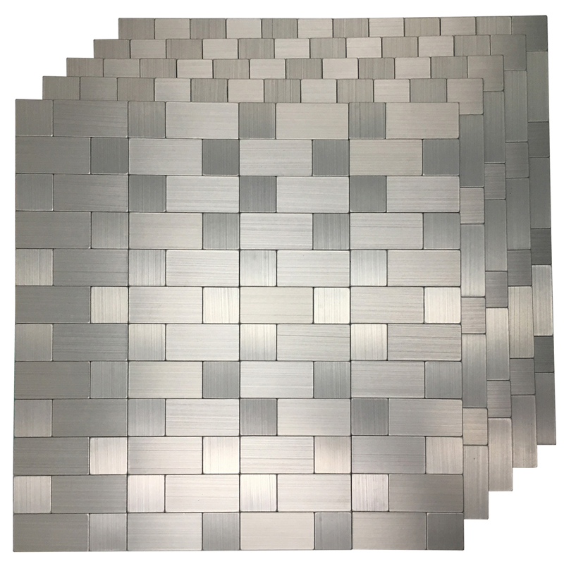 "Art3d 5 Pieces Peel and Stick Tile Metal Backsplash for Kitchen, Mosaic Silver Aluminum Surface 12""x12"""