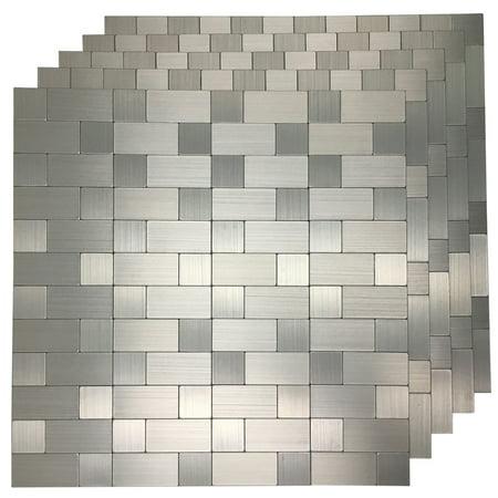 5 Tiles Peel and Stick Tile Metal Backsplash for Kitchen, Silver Aluminum  Surface