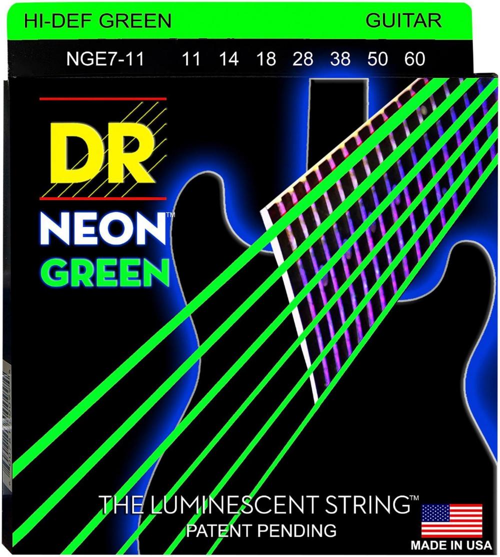 DR Strings Hi-Def NEON Green Coated Heavy 7-String Electric Guitar Strings (11-60) by DR Strings