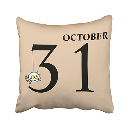 WinHome Fun Cartoon Spider Happy Halloween October 31st Fashion Polyester 18 x 18 Inch Square Throw Pillow Covers With Hidden Zipper Home Sofa Cushion Decorative Pillowcases - Friday 31st October Halloween