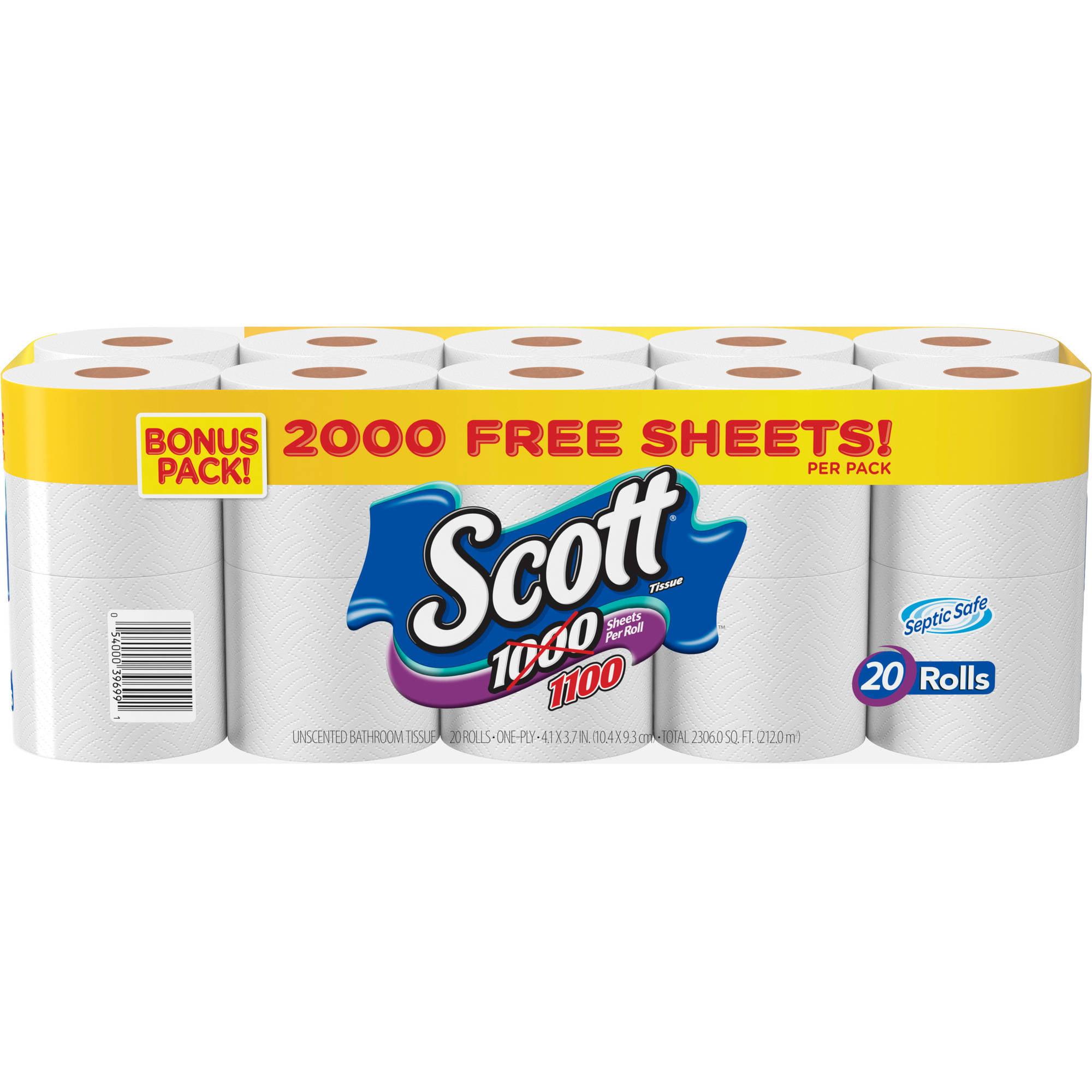 Scott Tissue 1100 Sheets Unscented Bathroom Tissue, 1100 sheets, 20 rolls