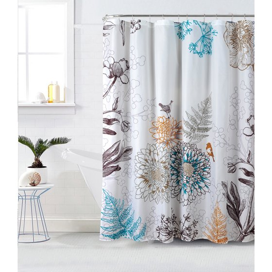 Style Quarters Aviary Floral and Birds Shower Curtain - Botanical ...