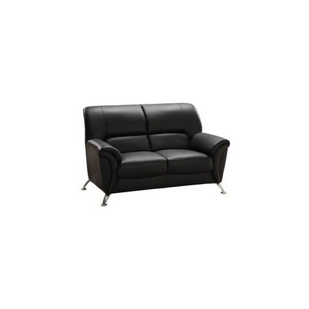 Leather Match Loveseat w Pillowtop Arms in Black