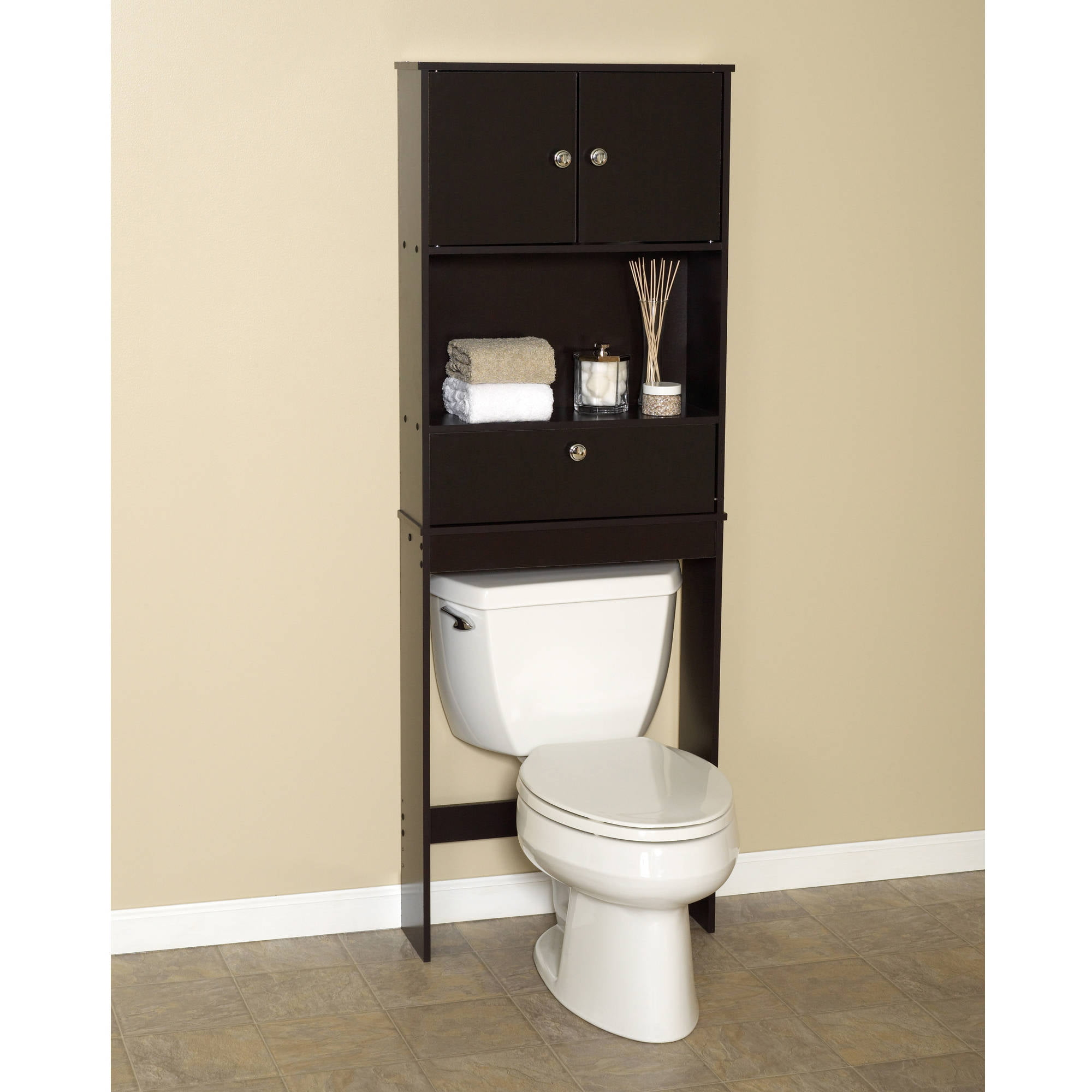 Zenna Home Drop Door Bathroom Spacesaver with 2-Door Cabinet ...
