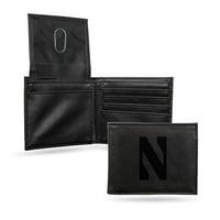 Northwestern Wildcats NCAA Laser Engraved Black Billfold Wallet