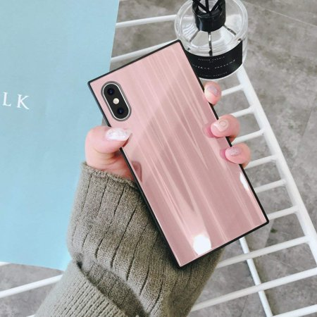 low priced 66db5 02f62 Square iPhone X, Chic Tempered Glass Case, Shiny Aurora Luxury ...