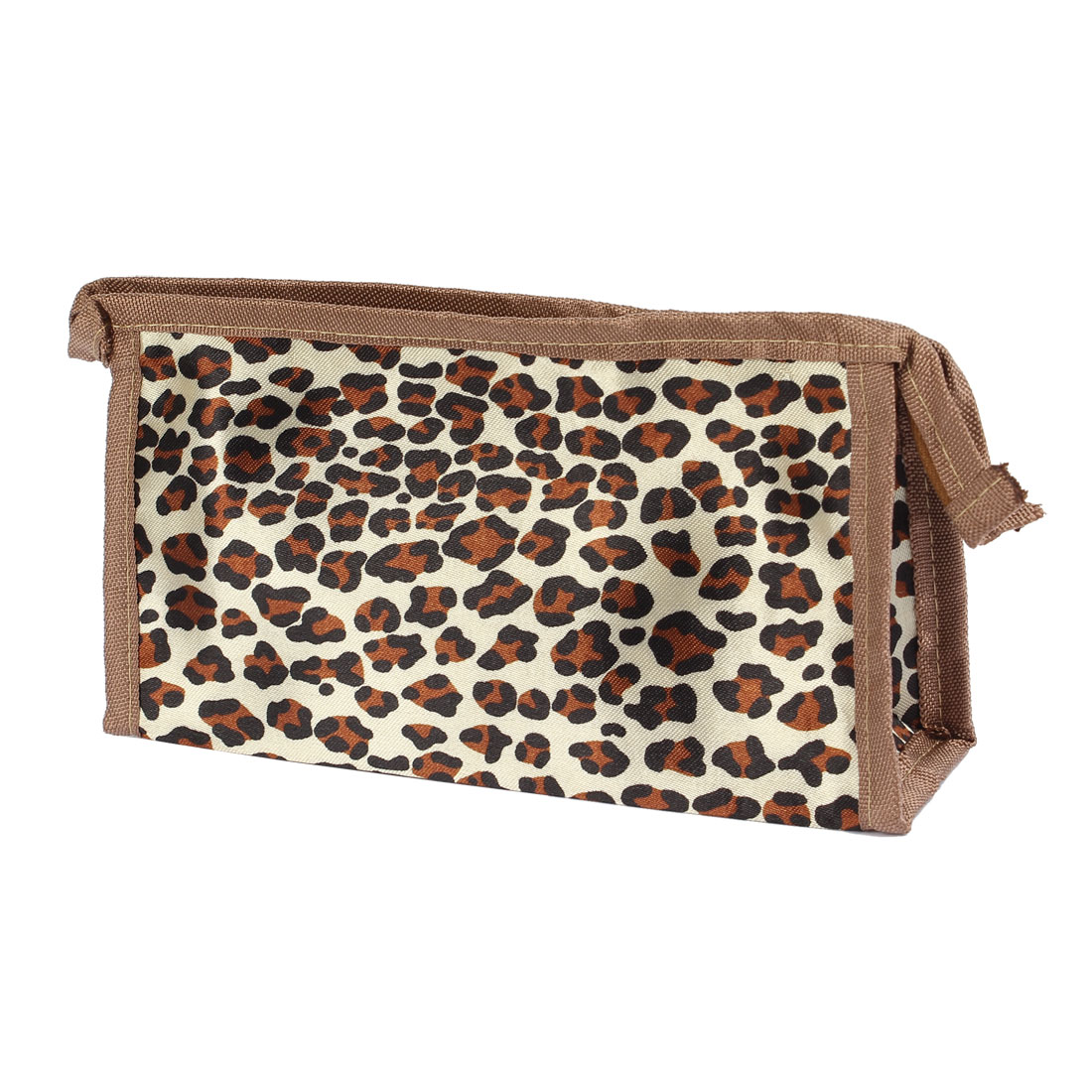 Lady Zippered Polyester Makeup Cosmetic Bag Holder Brown Beige