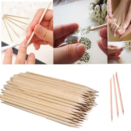 Outtop 100Pcs Nail Art Orange Wood Stick Cuticle Pusher Remover Pedicure Manicure (Cuticle Pusher Remover)