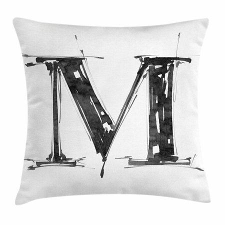 Letter M Throw Pillow Cushion Cover, Alphabet Symbol in Sketchy Stencil Art Style Hand Drawn Effect Funky Calligraphy, Decorative Square Accent Pillow Case, 18 X 18 Inches, Black White, by - Calligraphy Stencil