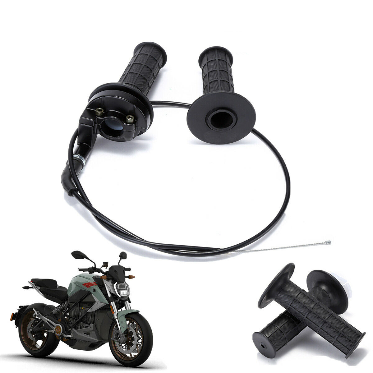 """New Universal Motorcycle 22mm 7//8/"""" Handlebar Hand Grips Throttle Tube With Cable"""