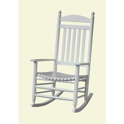 bradley white slat patio rocking chair