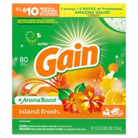 Gain Powder Laundry Detergent for Regular and HE Washers, Island Fresh Scent, 91 ounces 80 loads