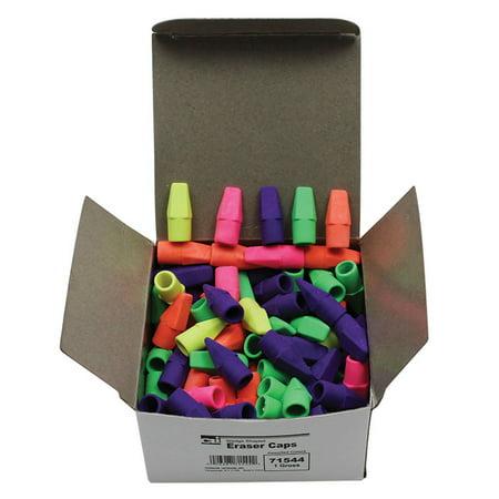 ECONOMY ERASER CAPS ASSORTED COLOR (Cap Erasers)