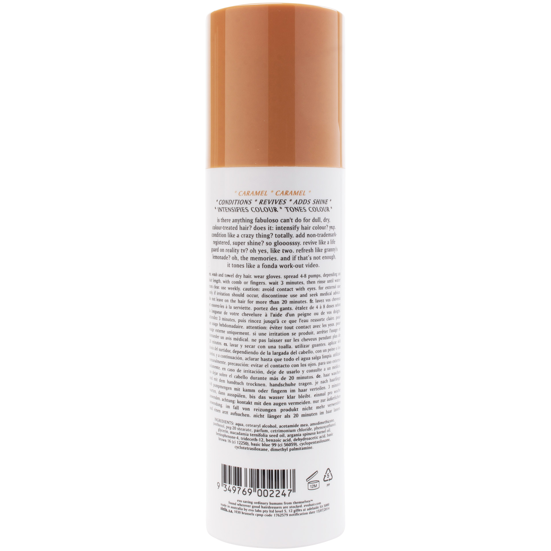 Evo Fabuloso Colour Intensifying Conditioner Caramel 8 5 oz
