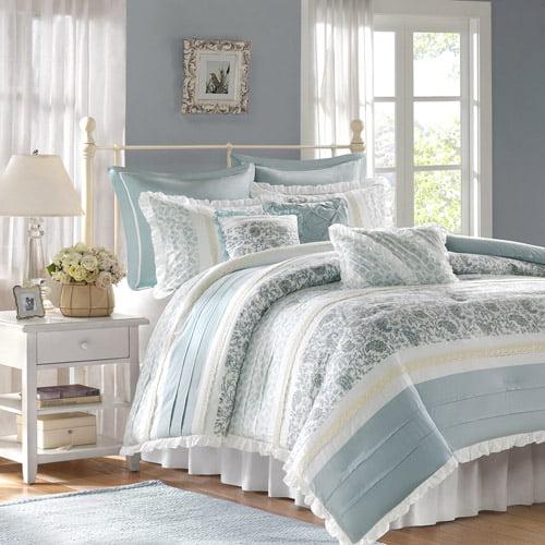 Home Essence Stella 9-Piece Bedding Comforter Set, Blue